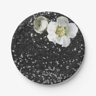 黒いスパンコールの花の白いジャスミンのグリッター ペーパープレート