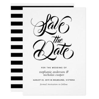 黒いタイポグラフィのブラシの文字の保存日付 カード