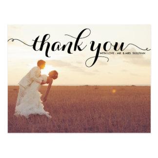 黒いタイポグラフィの原稿の結婚式は郵便はがき感謝していしています はがき