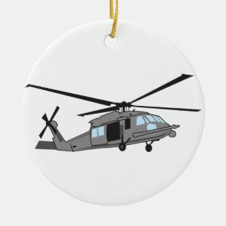 黒いタカのヘリコプター セラミックオーナメント