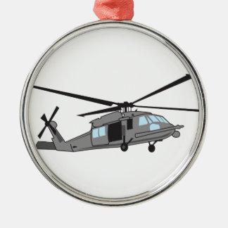 黒いタカのヘリコプター メタルオーナメント
