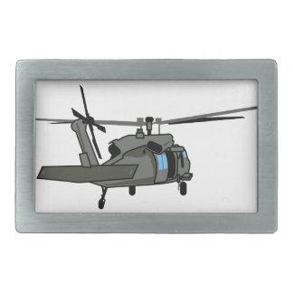 黒いタカのヘリコプター 長方形ベルトバックル