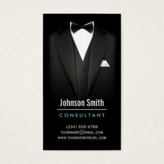黒いタキシードのビジネスマンのスーツ-モダンでシンプルなスタイリッシュ 名刺
