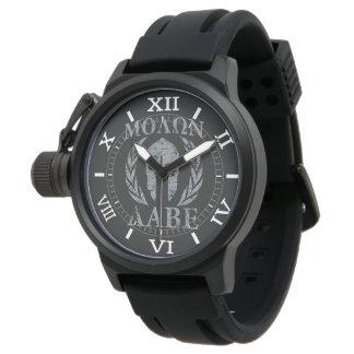 黒いダイヤルのMolon Labeの戦士のマスクの月桂樹 腕時計
