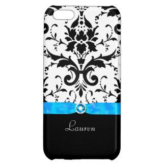 黒いダマスク織のターコイズの宝石 iPhone5Cケース