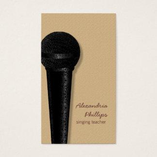 黒いダマスク織のマイクロフォンの名刺 名刺