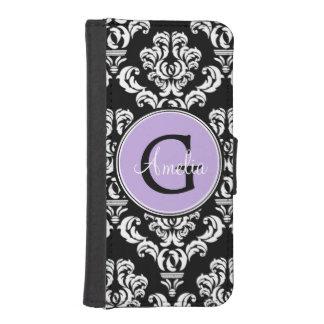 黒いダマスク織のラベンダーのモノグラムの財布の電話箱 iPhoneSE/5/5sウォレットケース