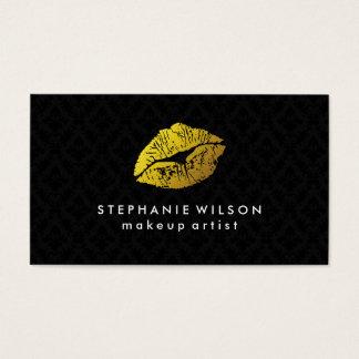 黒いダマスク織の金ゴールドの唇のメーキャップアーティストの名刺 名刺