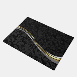 黒いダマスク織の銀及び金ゴールドのアクセント ドアマット