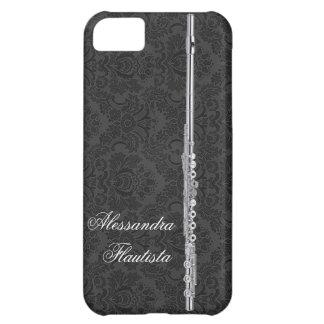 黒いダマスク織の銀製のフルート iPhone5Cケース
