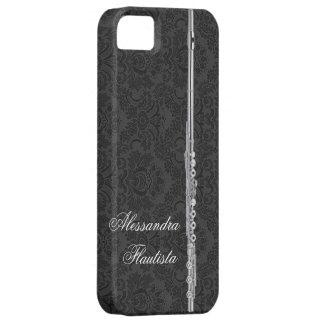 黒いダマスク織の銀製のフルート iPhone SE/5/5s ケース