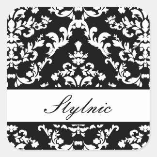 黒いダマスク織#3 @ Stylnic w/customの文字 スクエアシール