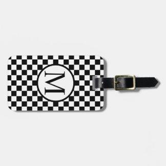 黒いチェッカーボードが付いているシンプルなモノグラム バッグタグ