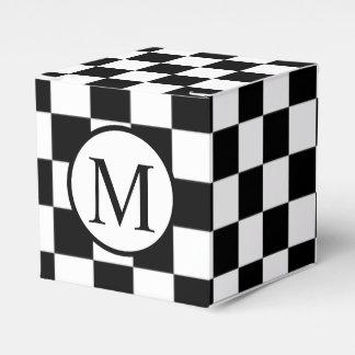 黒いチェッカーボードが付いているシンプルなモノグラム フェイバーボックス