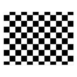 黒いチェッカーボードパターン ポストカード