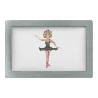 黒いチュチュのダンサーのヴィンテージのスタイルの絵画 長方形ベルトバックル