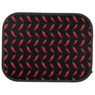 黒いチリペッパーパターン カーマット