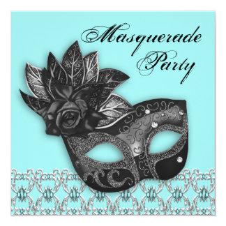 黒いティール(緑がかった色)の青い仮面舞踏会のパーティの招待状 カード