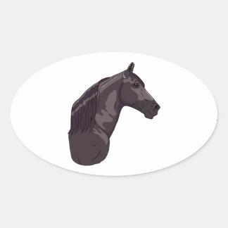 黒いテネシー州の歩くの馬 楕円形シール