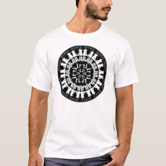 黒いディスク社交ダンスの曼荼羅の白 Tシャツ