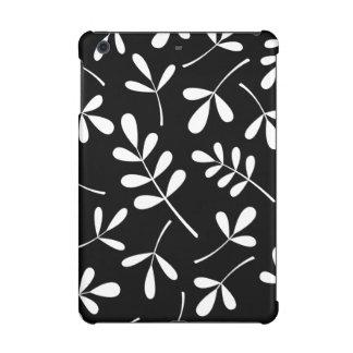 黒いデザインの大きい分類された白の葉 iPad MINI RETINAケース