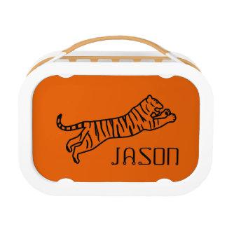 黒いトラのオレンジ子供の一流のお弁当箱の学校 ランチボックス
