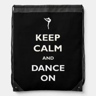 黒いドローストリングのバックパックのダンス ナップサック