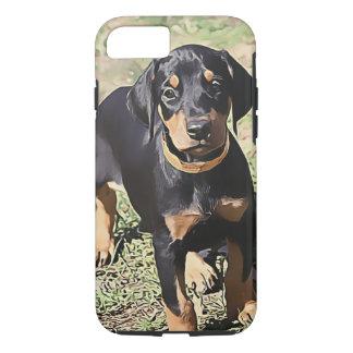 黒いドーベルマン犬の子犬(v11-1) iPhone 8/7ケース
