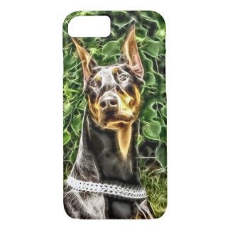 黒いドーベルマン犬Potrait (v3-3) iPhone 8/7ケース
