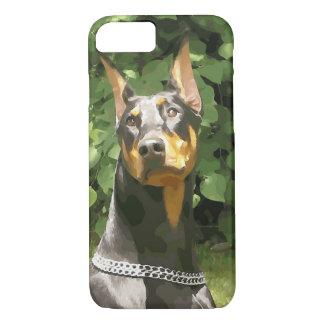 黒いドーベルマン犬Potrait (v9-2) iPhone 8/7ケース