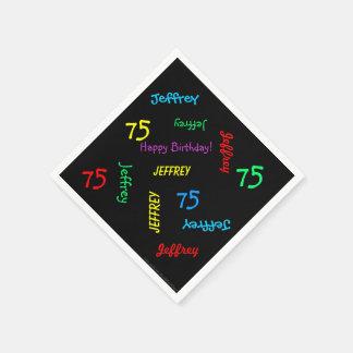 黒いナプキン、名前を繰り返している第75誕生会 スタンダードカクテルナプキン