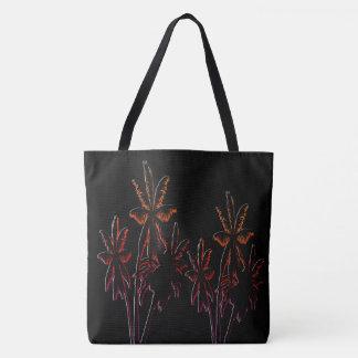 黒いネオンタヒチの日没の黒のヤシの木 トートバッグ