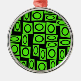 黒いネオンライムグリーンのおもしろいの円の正方形パターン メタルオーナメント
