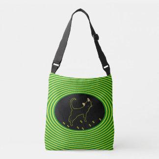 黒いネオン子猫 クロスボディバッグ