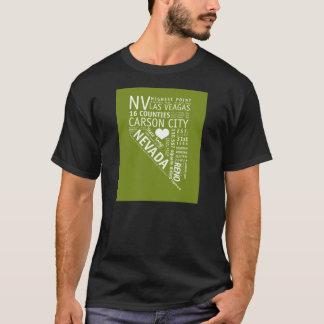 黒いネバダの州愛Tシャツ Tシャツ