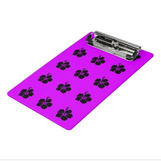 黒いハイビスカスのネオン紫色 ミニクリップボード