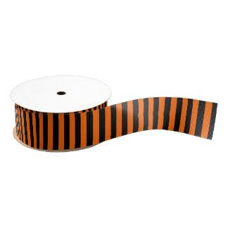 黒いハロウィンかオレンジのストライプ グログランリボン