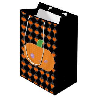 黒いハロウィンのかわいいのカボチャギフトバッグ ミディアムペーパーバッグ