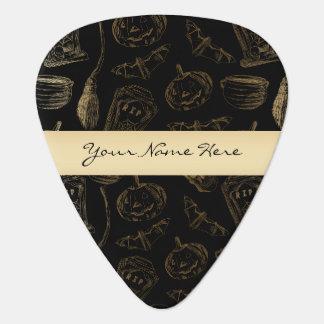 黒いハロウィンの不完全で気味悪い金ゴールド ギターピック