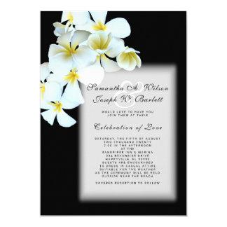 黒いハワイの結婚式招待状のプルメリア 12.7 X 17.8 インビテーションカード