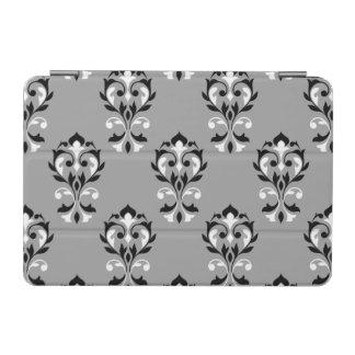 黒いハートのダマスク織大きいPtn及び灰色の白 iPad Miniカバー