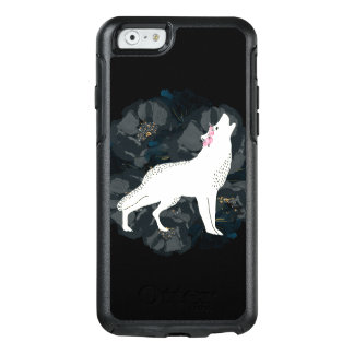 黒いバラの箱の円の白いオオカミ オッターボックスiPhone 6/6Sケース