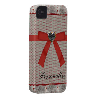 黒いバラ、赤い弓及び宝石のハートのiPhone 4 Case-Mate iPhone 4 ケース