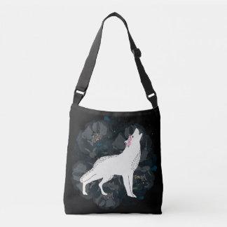 黒いバラCrossbodyの円の白いオオカミ クロスボディバッグ