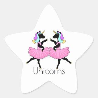 黒いバレリーナのユニコーンの星のステッカー 星シール