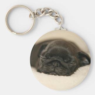 黒いパグの子犬の睡眠 キーホルダー