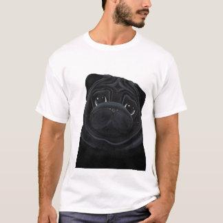 黒いパグのTシャツ Tシャツ