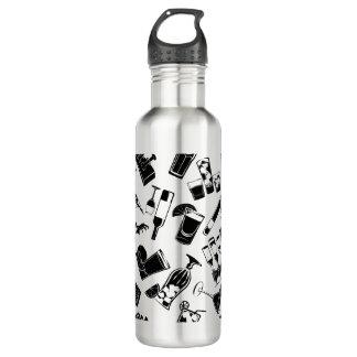 黒いパターンカクテルのバー ウォーターボトル