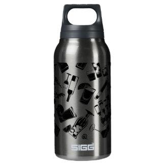 黒いパターンカクテルのバー 断熱ウォーターボトル