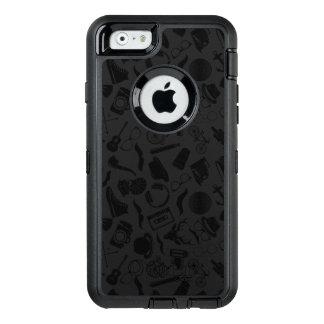 黒いパターンヒップスター オッターボックスディフェンダーiPhoneケース
